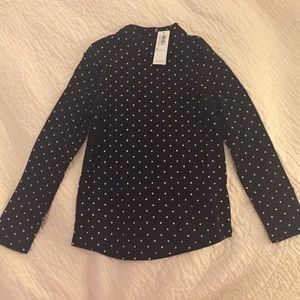 Girls 5T Mock Neck Polkadot Shirt New with Tags!